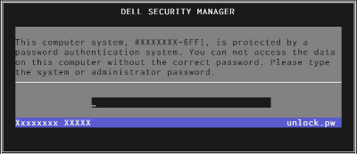Example securemanager with password servicetag 6FF1