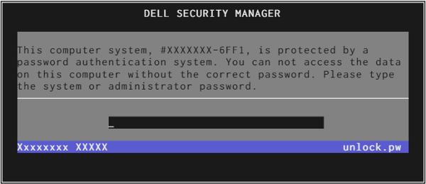 dell password screen ending 6FF1