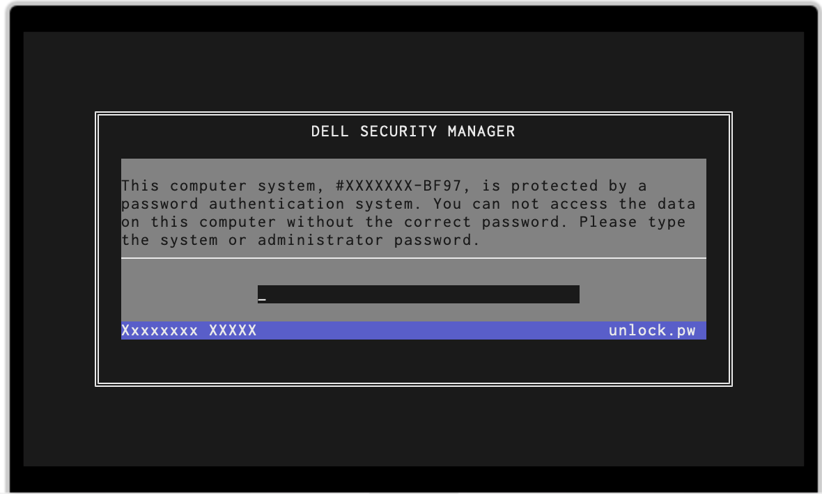 Example securemanager with password servicetag BF97